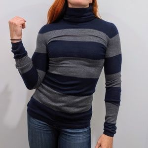 Theory 100% Cashmere Striped Turtleneck Sweater S